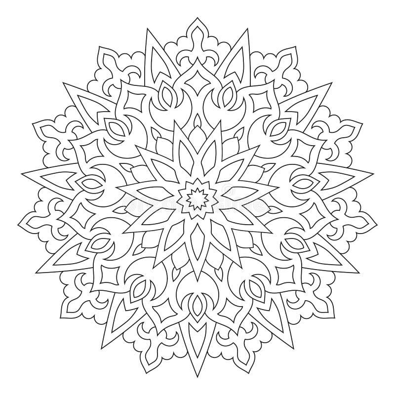 Ornamento geométrico circular Mandala redonda do esboço ilustração do vetor