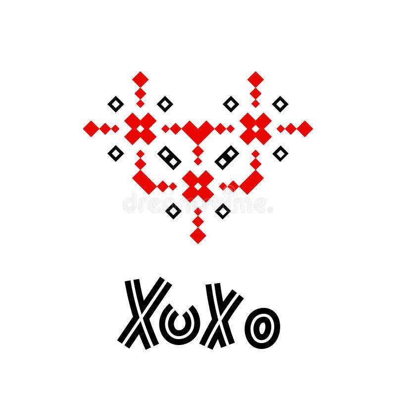 Ornamento geométrico del corazón de Xoxo ilustración del vector