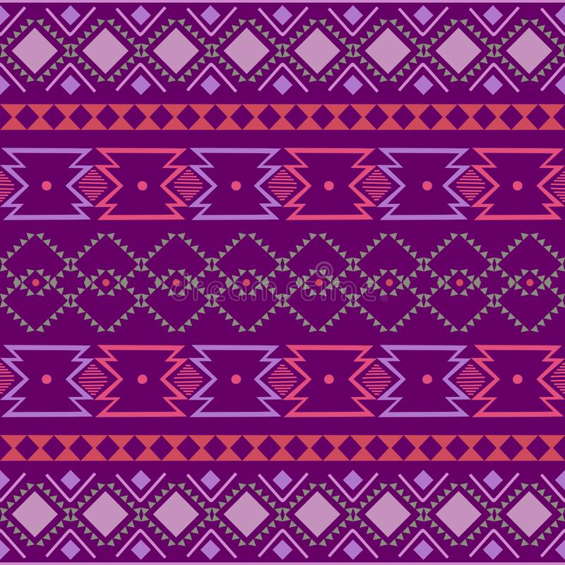 ornamento geométrico del folclore del kat Textura étnica tribal del vector Modelo rayado inconsútil en estilo azteca Figura borda libre illustration