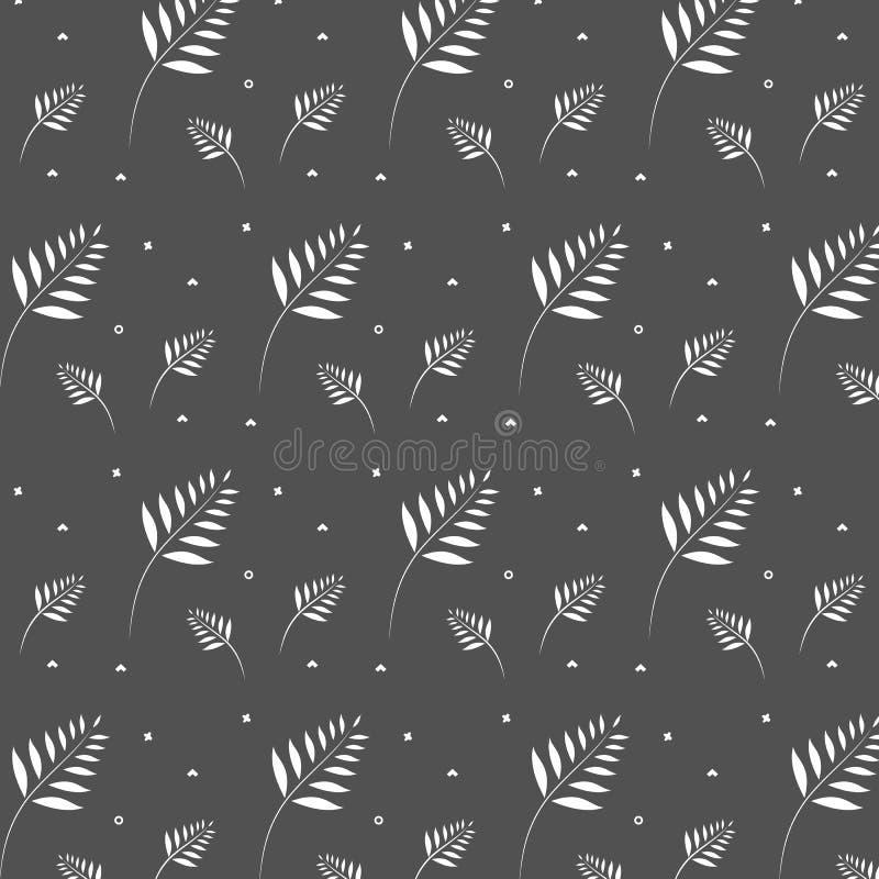 Ornamento geométrico del modelo del fashoion del inconformista con la esquina blanca de las hojas de palma blancas en círculo gri ilustración del vector