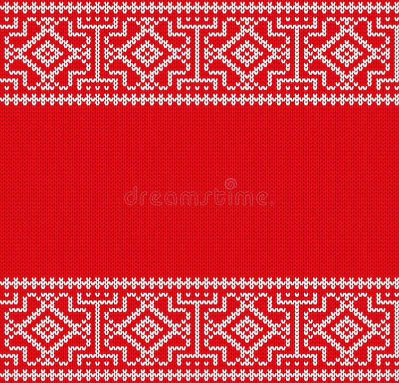 Ornamento geométrico feito malha do Natal Teste padrão sem emenda do Xmas ilustração royalty free