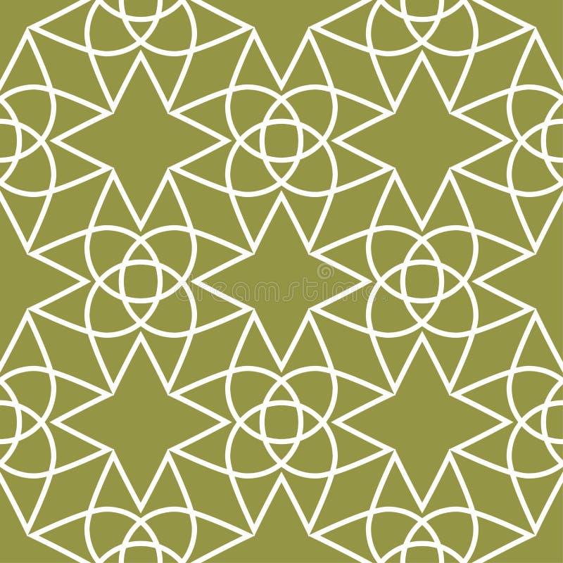 Ornamento geométrico verde oliva del verde y blanco Modelo inconsútil ilustración del vector