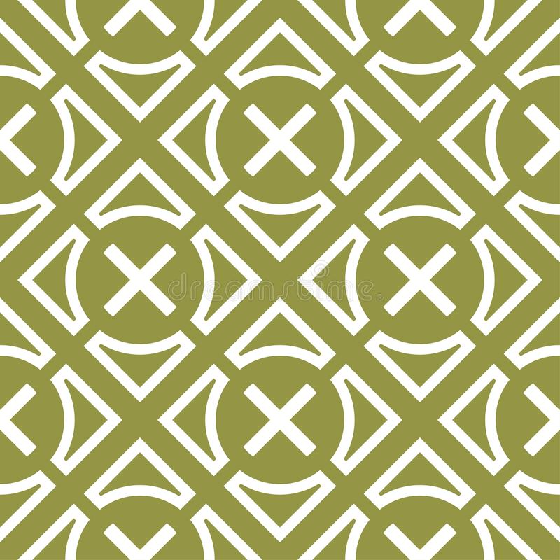 Ornamento geométrico verde oliva del verde y blanco Modelo inconsútil stock de ilustración