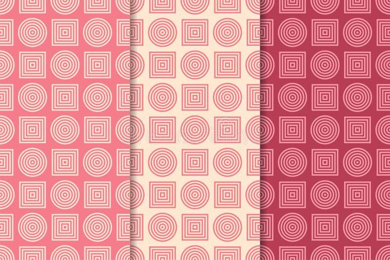 Ornamento geométricos do vermelho de cereja Jogo de testes padrões sem emenda ilustração stock