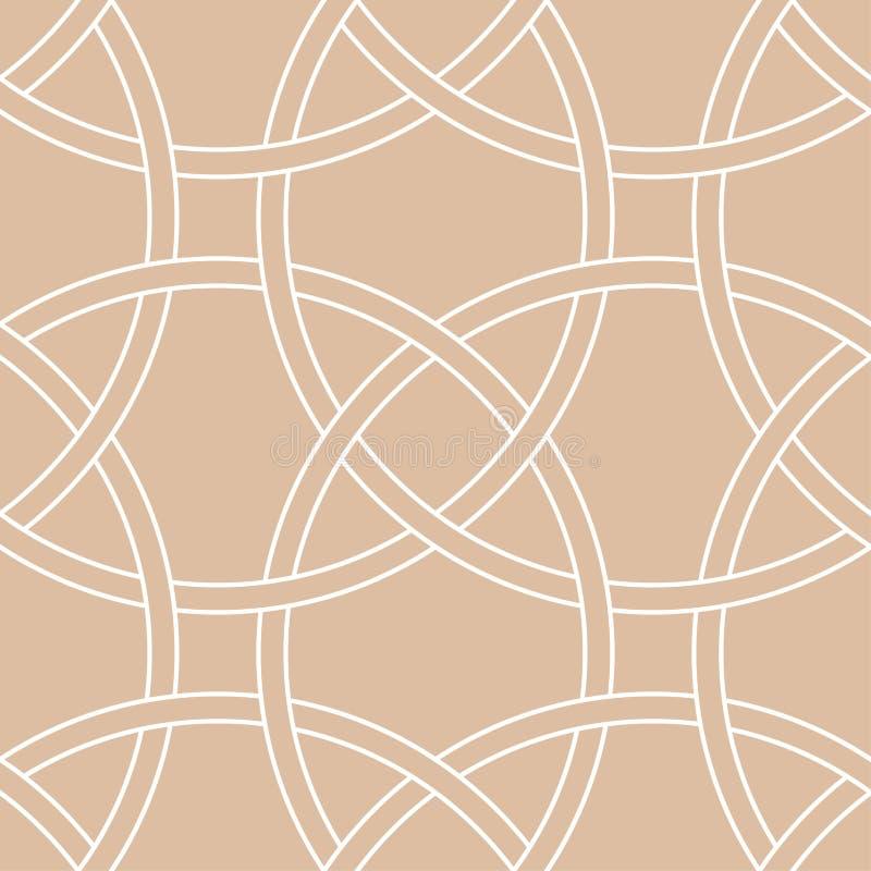 Ornamento geometrico beige e bianco Reticolo senza giunte illustrazione di stock