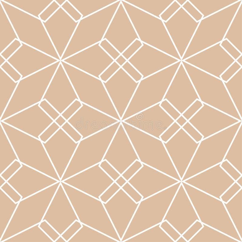 Ornamento geometrico beige e bianco Reticolo senza giunte royalty illustrazione gratis