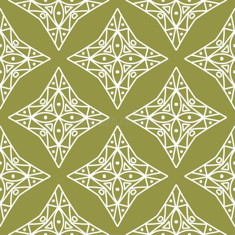 Ornamento geometrico bianco verde oliva e di verde Reticolo senza giunte illustrazione di stock