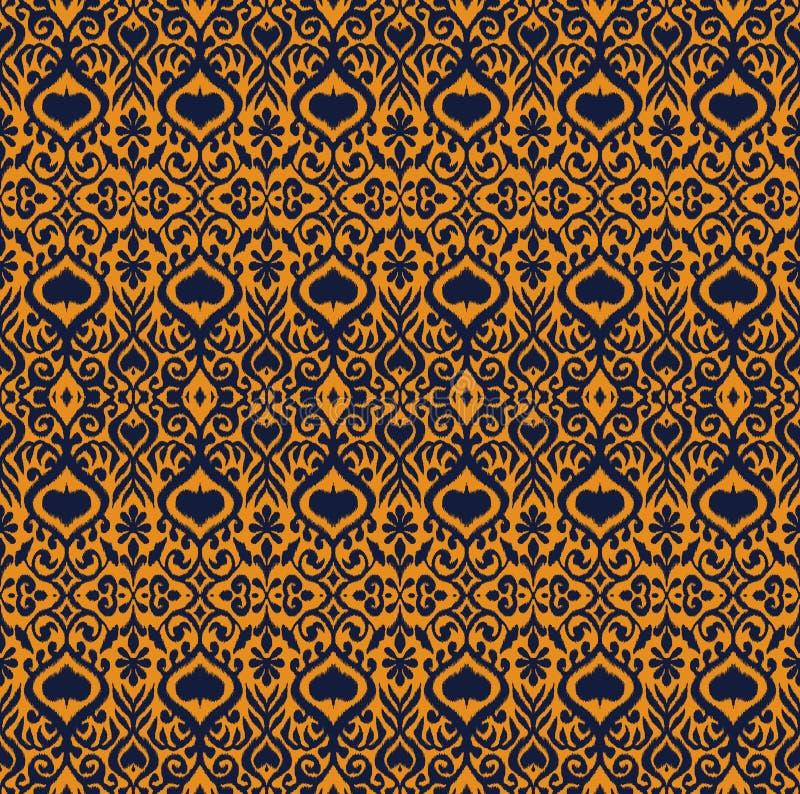 Ornamento geometrico di folclore di Ikat Modello orientale del damasco di vettore illustrazione di stock