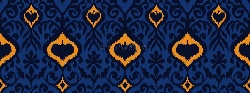 Ornamento geometrico di folclore di Ikat Modello orientale del damasco di vettore illustrazione vettoriale