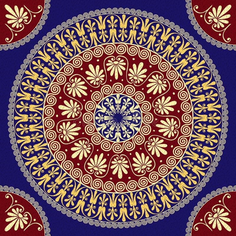 Ornamento greco dell'oro d'annata tradizionale di vettore (me illustrazione di stock