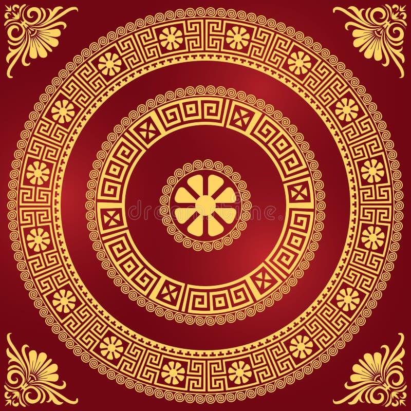 Ornamento greco dell'oro d'annata tradizionale di vettore (me illustrazione vettoriale