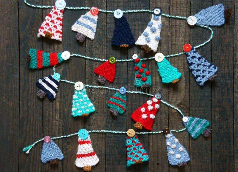 Ornamento hecho a mano, árbol de pino hecho punto, la Navidad, Navidad fotos de archivo