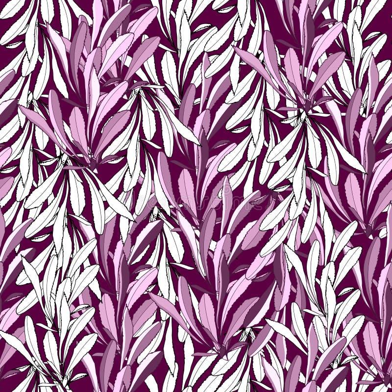Ornamento inconsútil de la materia textil Fondo de las hojas multicoloras Textura para las telas, tejas Ornamento del vector stock de ilustración