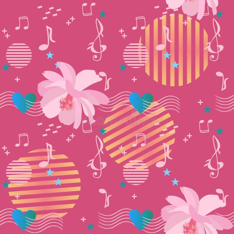 Ornamento inconsútil lindo con las flores rosadas apacibles del cosmos, las reglas musicales que pasan a través del corazón, las  stock de ilustración