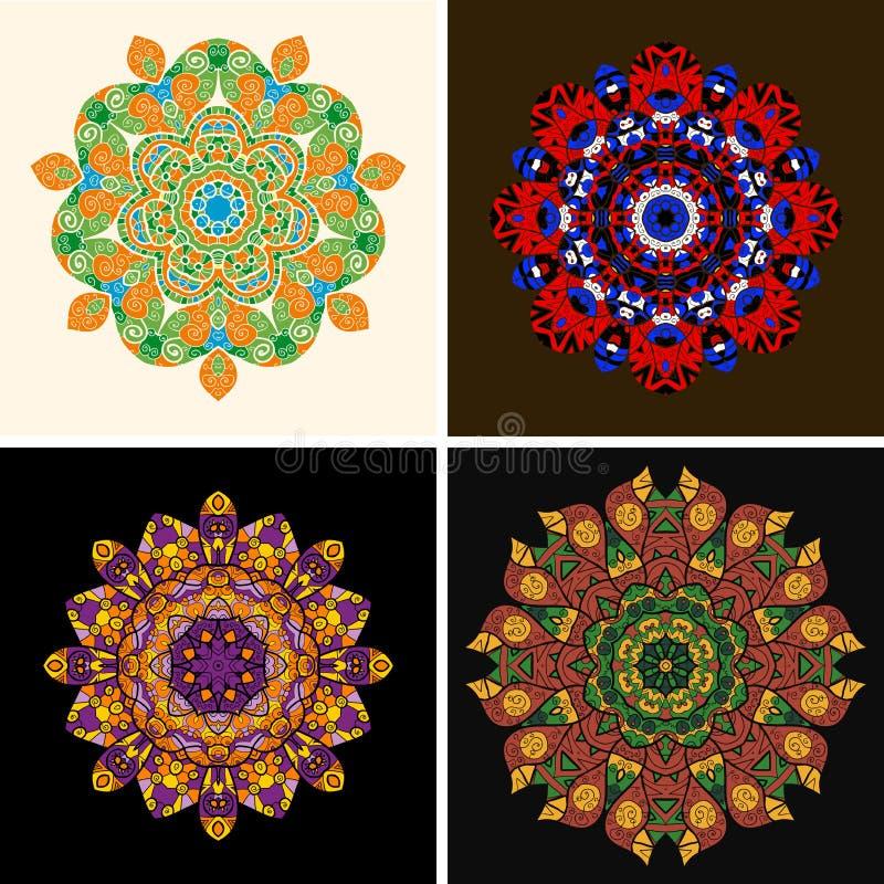 Ornamento indiano, teste padrão floral calidoscópico, ilustração royalty free