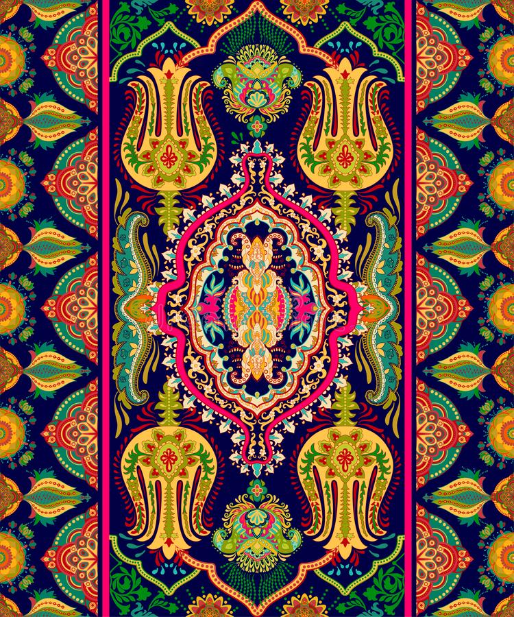 Ornamento indiano variopinto, clipart di vettore Carta da parati geometrica araba Reticolo senza giunte con Paisley Progettazione immagini stock libere da diritti