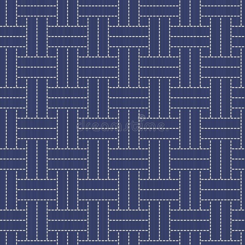 Ornamento japonés tradicional del bordado con las líneas y los rectángulos libre illustration