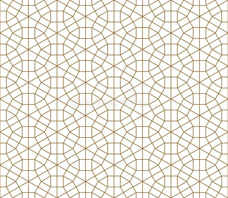 Ornamento japonés tradicional inconsútil Kumiko Líneas de color de oro ilustración del vector