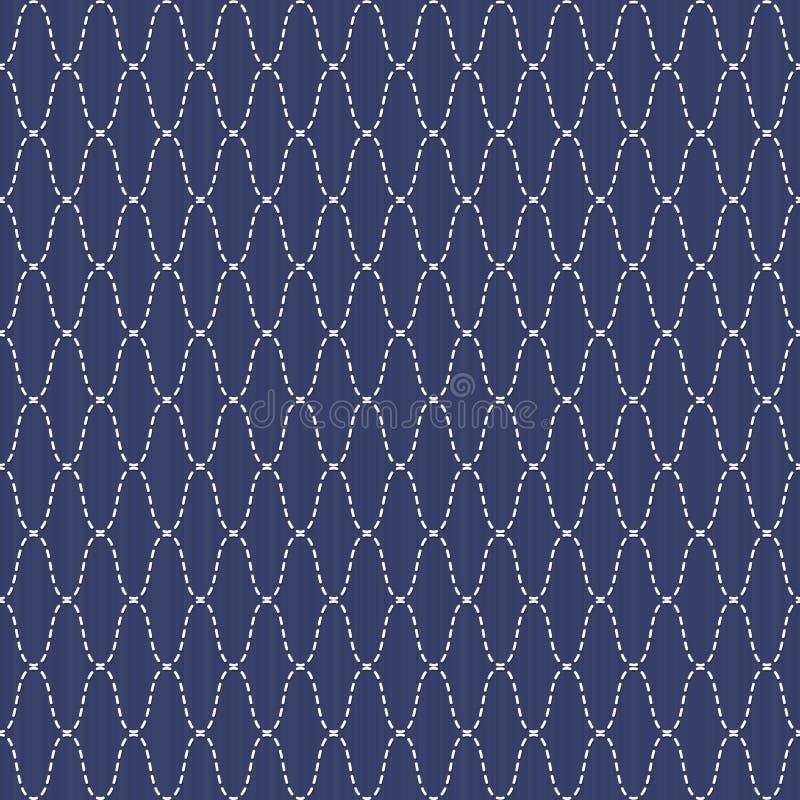 Ornamento japonês tradicional do bordado Sashiko ondulado Vector o teste padrão sem emenda ilustração do vetor