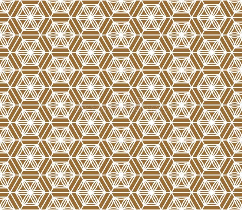 Ornamento japonês tradicional sem emenda Fundo dourado da cor Linhas brancas imagem de stock