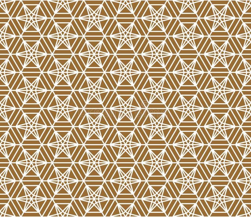 Ornamento japonês tradicional sem emenda Fundo dourado da cor Linhas brancas fotos de stock