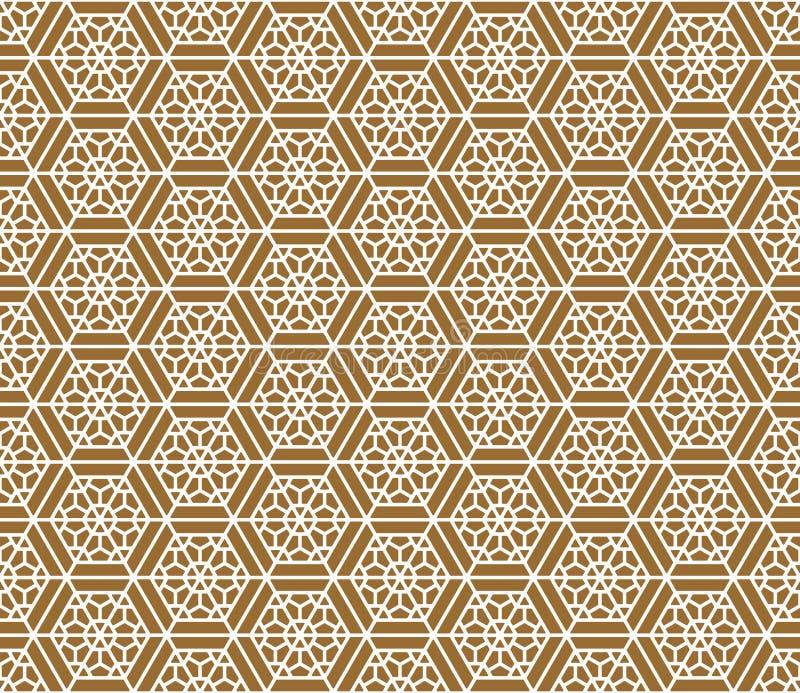 Ornamento japonês tradicional sem emenda Fundo dourado da cor Linhas brancas fotografia de stock