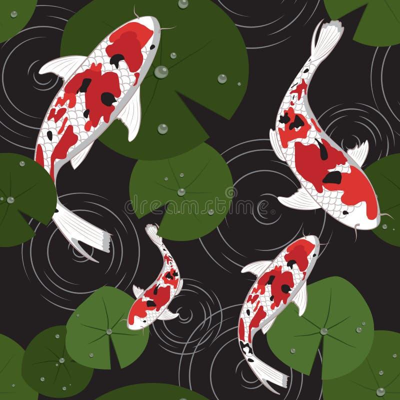 Ornamento japon?s tradicional Modelo incons?til ondule las carpas de un koi Fondo n?utico asi?tico Ejemplo de los pescados del ve libre illustration