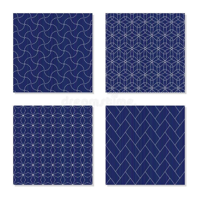 Ornamento japoneses do sashiko jogo Testes padrões sem emenda ilustração stock