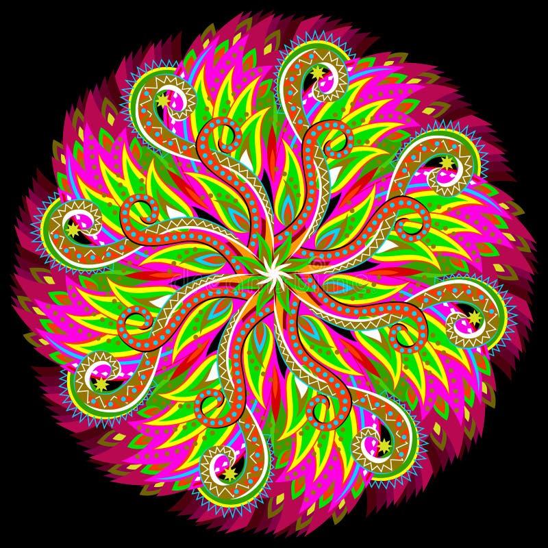 Ornamento latinoamericano de la fantas?a hecho en estilo caleidosc?pico Mandala moderna imprimible en fondo negro libre illustration