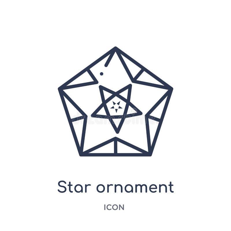 Ornamento linear de la estrella del icono de los triángulos de la colección del esquema de la geometría Línea fina ornamento de l stock de ilustración
