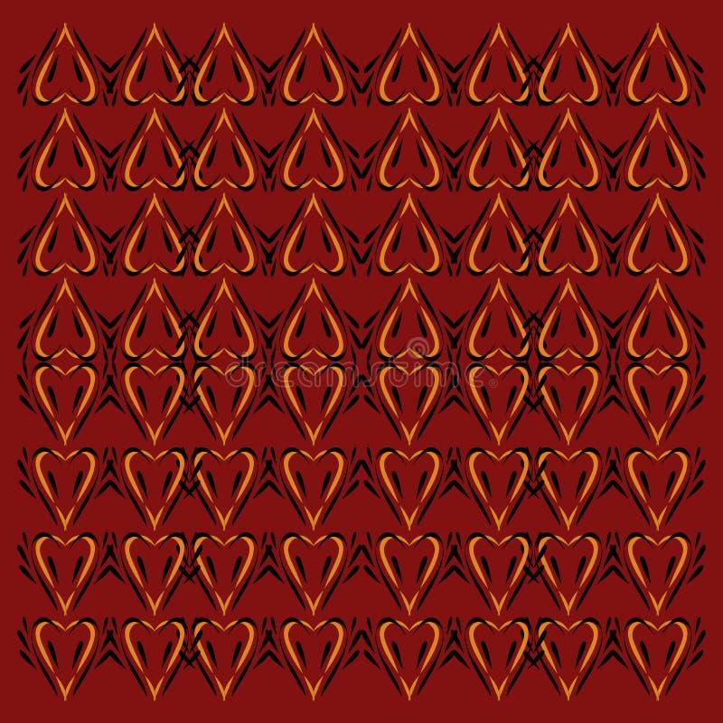 Ornamento luxuosos, vint das mandalas O vermelho remenda a arte finala com ouro ilustração royalty free