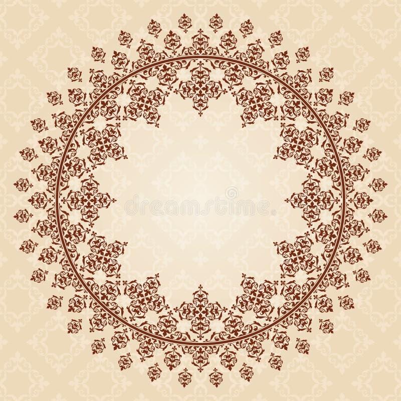 Ornamento marrom redondo do vintage no alinhador longitudinal bege claro ilustração royalty free