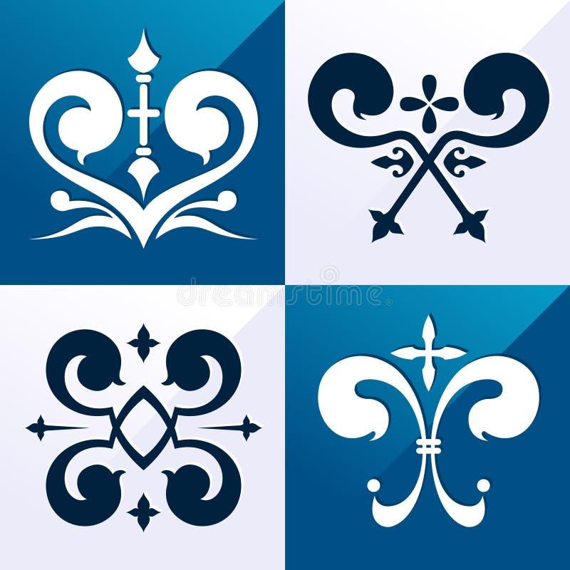 Ornamento medieval del emblema stock de ilustración