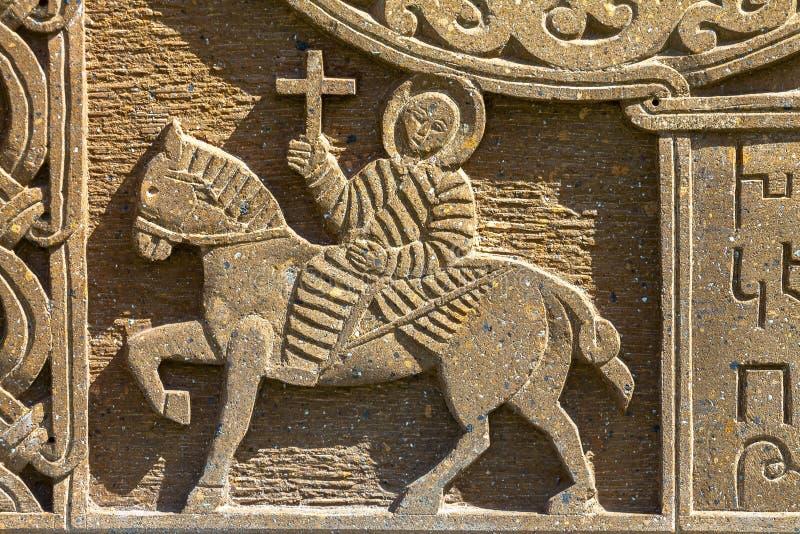 Ornamento medievale armeno sulla pietra immagini stock libere da diritti