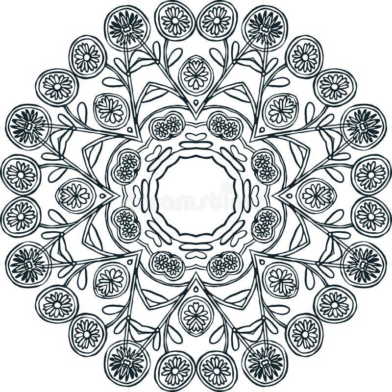 Ornamento monocromático circular ilustração stock