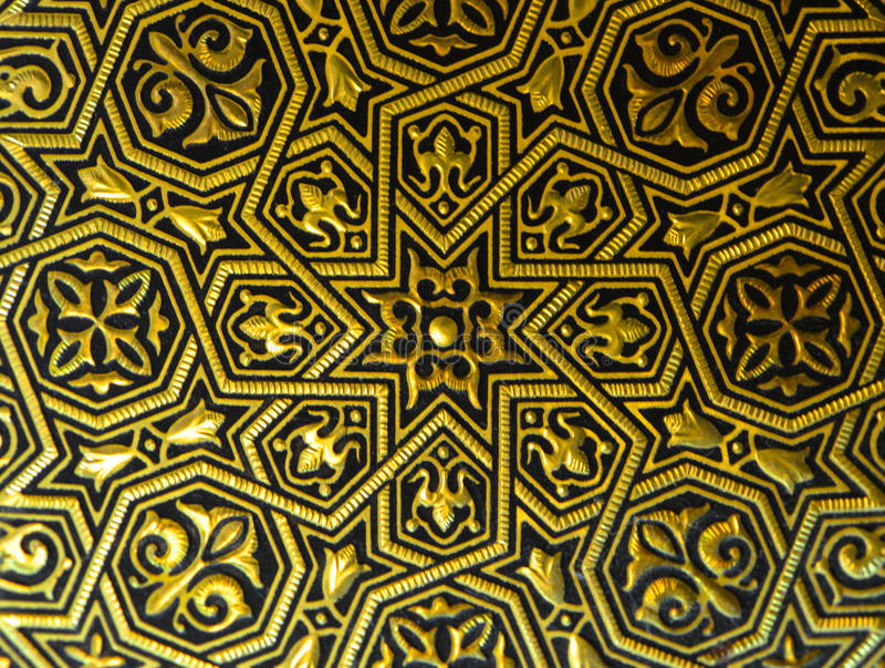 Ornamento na placa de ouro de Toledo fotografia de stock