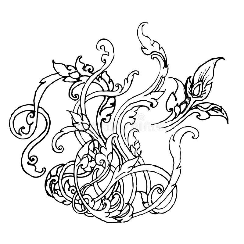Ornamento naturale nello stile tailandese illustrazione di stock