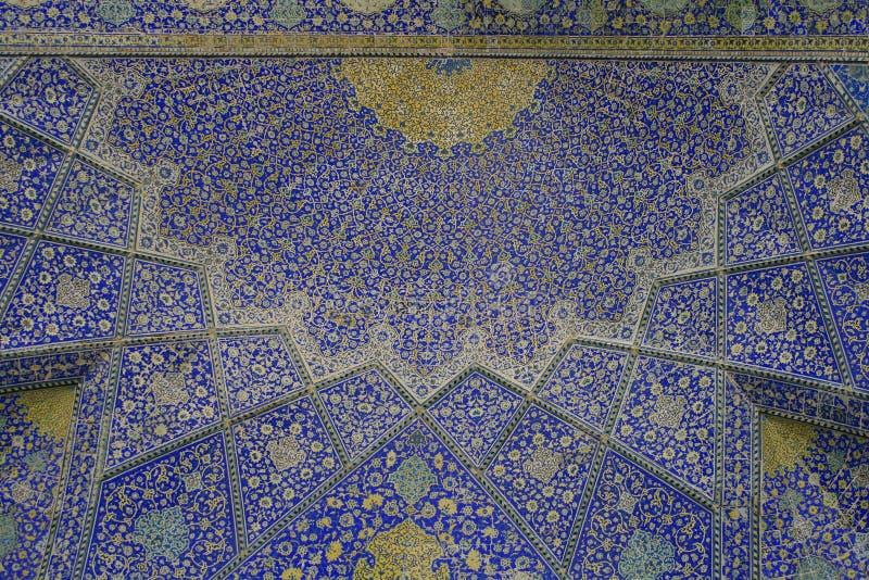 Ornamento orientais, mesquita de Isfahan, Irã fotografia de stock royalty free