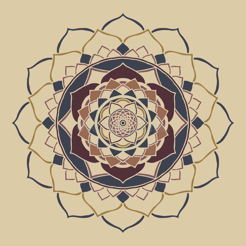 Ornamento oriental das cores neutras chiques do boho da mandala ilustração do vetor