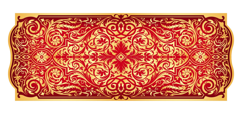 Ornamento oriental do ouro vermelho ilustração royalty free