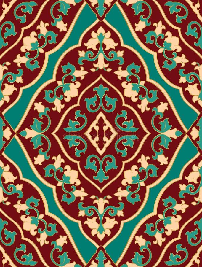 Ornamento orientale del turchese e di rosso illustrazione di stock