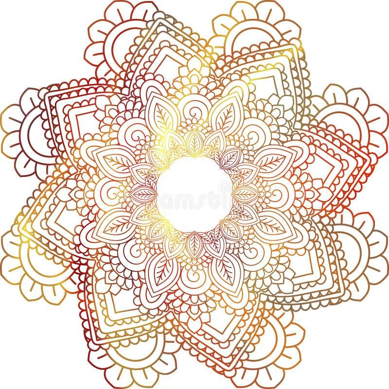 ornamento orientale indù di buta etnico di Paisley di mehndi della mandala, rosso immagini stock libere da diritti