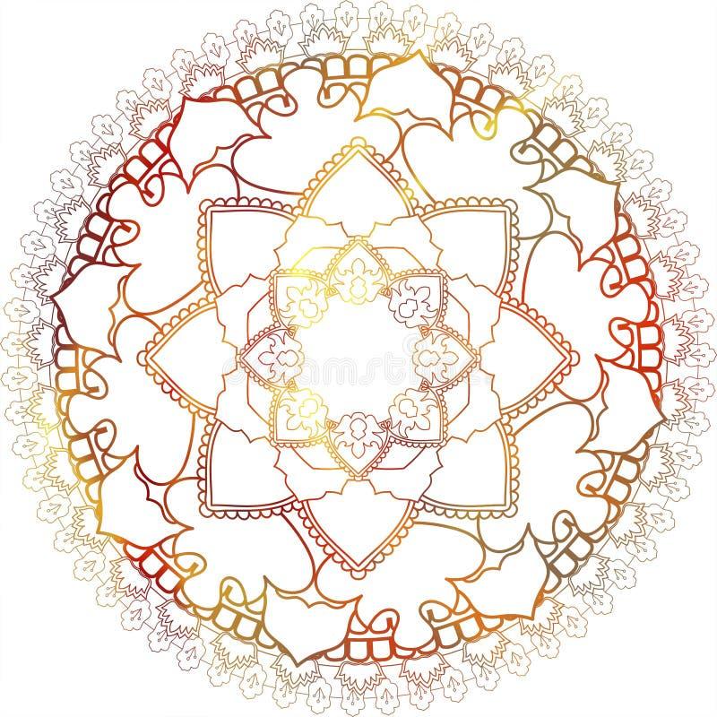 ornamento orientale indù di buta etnico di Paisley di mehndi della mandala, rosso immagine stock