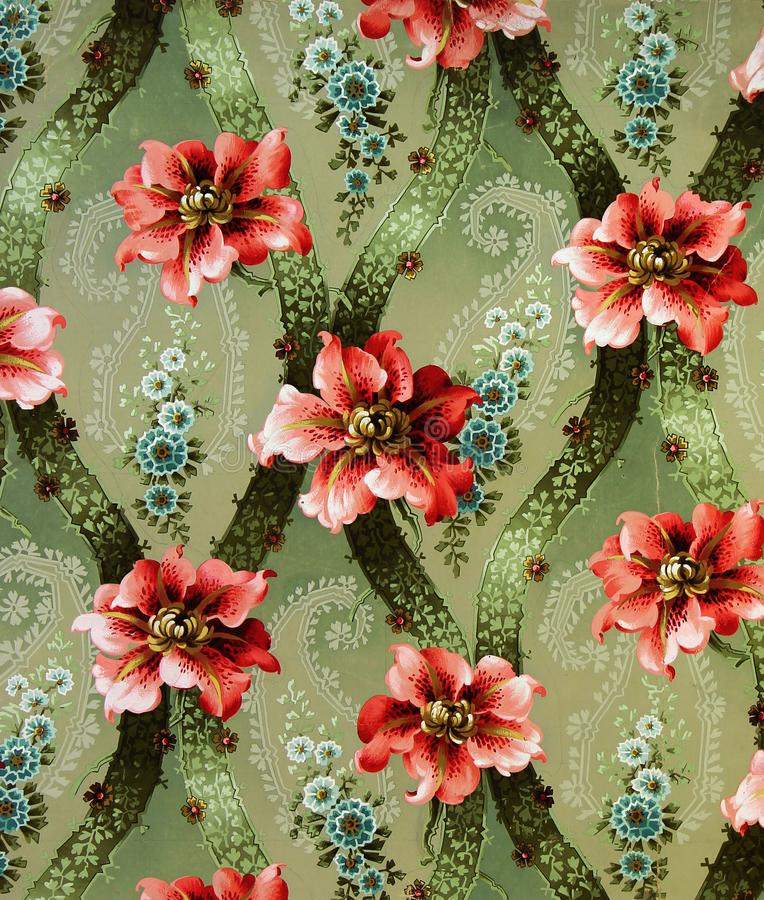 Ornamento original de la tela de materia textil del lirio El cántaro es pintado a mano con aguazo stock de ilustración