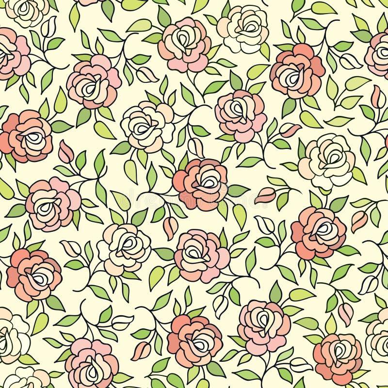 Ornamento ornamental del Flourish del fondo de la rosa de la flor del estampado de flores ilustración del vector