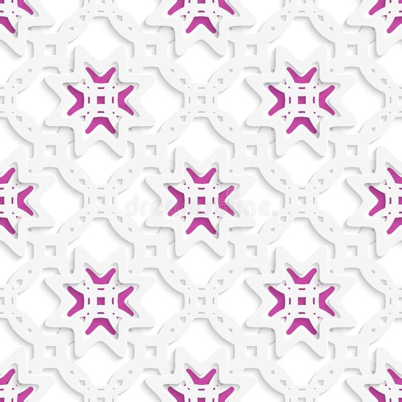 Ornamento perforato bianco stratificato con le stelle senza cuciture illustrazione vettoriale
