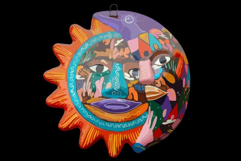 Ornamento pintado à mão vectorized de Sun e de lua ilustração stock
