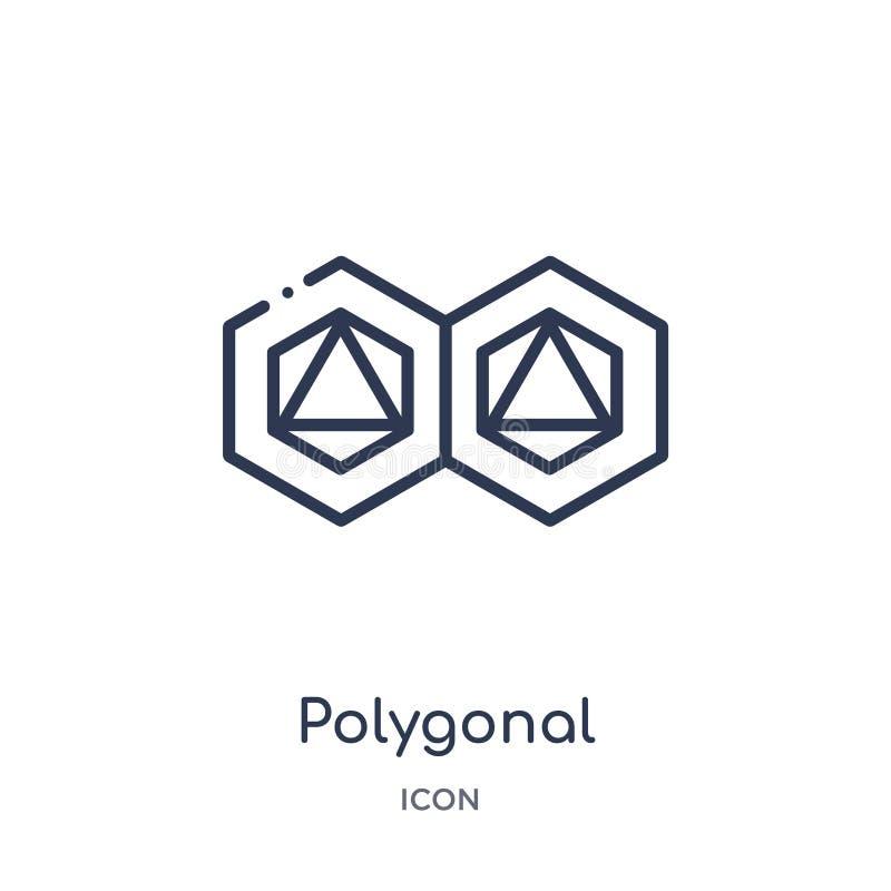 Ornamento poligonal linear de hexágonos y del icono de los triángulos de la colección del esquema de la geometría Línea fina orna libre illustration
