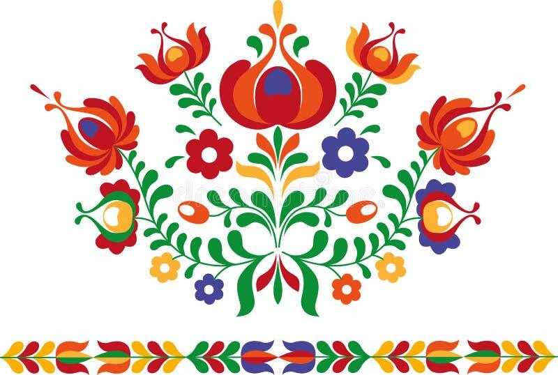 Ornamento popular de Eslovaquia del este stock de ilustración