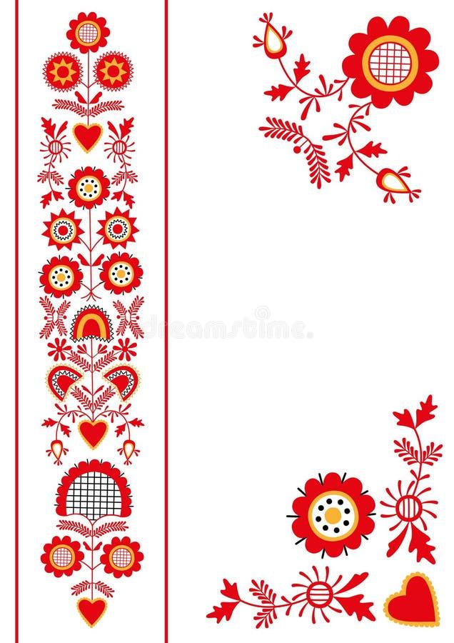 Ornamento popular de la región del sur de Bohemia Pelhrimov stock de ilustración